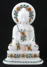 """7"""" White Marble Buddha Hakik Inlay Buddhism Religious Collectible Gifts H2244"""