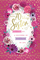 Sister 70th 70 Today Roses Flowers Design Happy Birthday Card Lovely Verse
