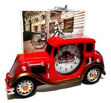 Retro Design Oldtimer Auto Quartz Uhr Kaminuhr mit Bilderrahmen Foto Fotouhr Rot