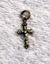 "Beautiful 3/4"" Sterling Sliver Cross with Multi-color Gemstones"