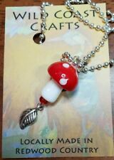 """Red Lamp Glass Mushroom Necklace with 18"""" ball chain with a leaf charm"""