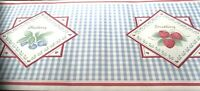 Wallpaper Border Country Apple Blueberry Strawberry Red White Blue Gingham 51303