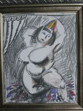 Yuri Krasny , Russian,old, framed, drawing with color , on paper,nude dancer