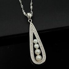 White Freshwater Pearl CZ 925 Sterling Silver Drop Pendant Chain Necklace 04876