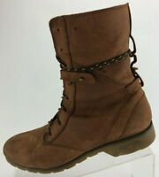 Teva Delavina Lace Boots Comfort Brown Casual Leather Mid Calf Shoes Womens US 9