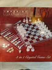 IMPERIAL CRYSTAL CHESS SET (MISSING BACKGAMMON,CHECKERS PIECES)