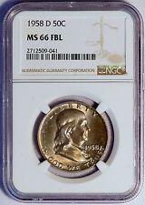1958 D 50C US Benjamin Franklin Silver Half Dollar Coin (NGC MS 66 FBL MS66FBL)