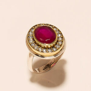 4.90 Gm Gemstone 925 Solid Sterling Silver Ring Ruby Two Tone Ring Size 6 i-1903