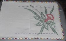 Vintage Table Runner (40 x 14) Cloth w Crochet Edge 5
