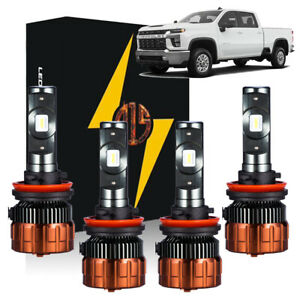 H11+H9 for 2020 2021 Silverado 2500 3500 WT Custom LT White LED Headlight Bulbs