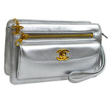 Authentic CHANEL CC Logos Clutch Hand Bag Silver Leather Vintage AK33294k
