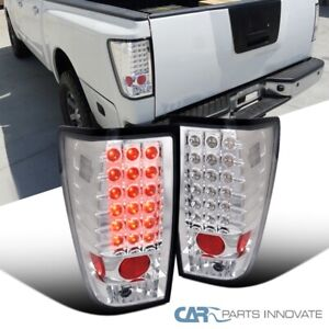 For Nissan 04-15 Titan Clear LED Parking Tail Lights Rear Brake Lamps Left+Right