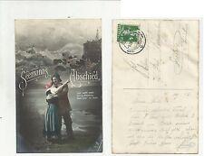 84671 antica cartolina  spedita da svizzera seemann abschied marinaio addio