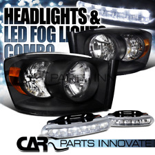 2006-2008 Dodge Ram 1500 2500 3500 Black Clear Headlights+6-LED Fog Lamps Pair