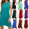 Womens Sleeveless T Shirt Dress Summer Sundress Plus Size Casual Tunic Dress US