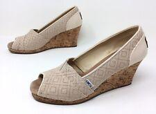 Women's TOMS Wedge Cream Beige Diamond Open Toe Heels Casual Dress Shoes Sz. 10