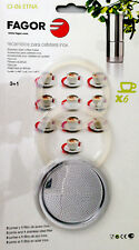 Fagor Espresso Maker 6 Cups Gasket Set 3 Replacement Seal +1 Sieb
