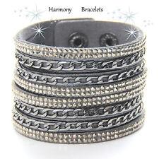 Grey Swarovski Elements Chain Cuff Bracelet by Harmony Bracelets