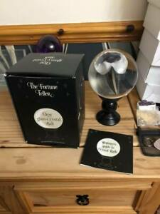 Crystal ball Clear 15cm sphere on a black tall stand gift boxed guide to crysta