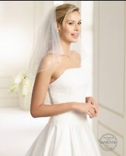 Bridal Veil Ivory, Corded Edge With Crystal Beads 2 Tier Made In The EU