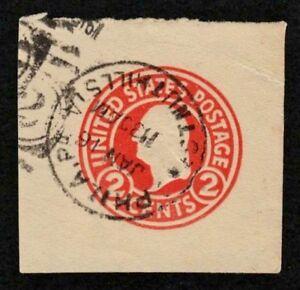US 1915 #U429c - 2c Carmine Washington Cut Square Philadelphia CV $15 Used EX