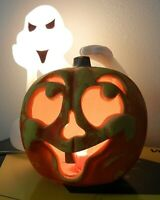 HALLOWEEN BLOW MOLD SPOOKY GHOST ALIEN WITH PUMPKIN LIGHT BY SEASONS ZAUDER'S