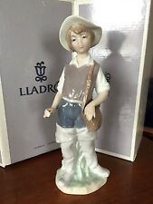 "LLADRO #4809 FISHER BOY 8 1/2"" Figurine Valencia Espana Boxed Fishing Pole Hat"