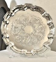 "Vintage Towle EP 4033 Silver Plated Serving Tray Scalloped Embossed 12.5"" Heavy"