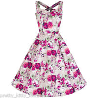 Vintage Pink Floral Print Frill Cotton 50s Prom Rockabilly Swing Dress 8-18