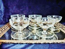 EXCEPTIONAL & EXQUISITE ETCHED  CRYSTAL SWEET / DESERT  GLASSES SET OF 5