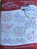 Stitcher's Revolution FANCIFUL BIRDS Floral Embroidery Transfer Pattern SR26 NEW