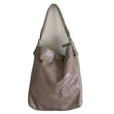 United Colors Benetton Faux Leather Embossed Snakeskin Taupe Hobo Shoulder Bag