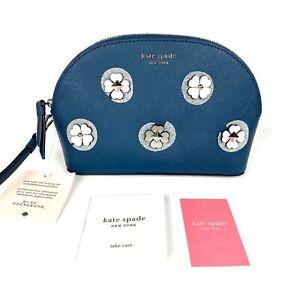 NWT NEW! Kate Spade Medium Dome Cosmetic Bag Pouch Cameron Applique Flower Blue