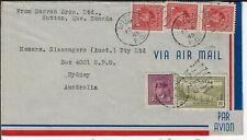 Canada 1949 cover Sutton (Pq) to Sydney Australia, Sc# 252 254x3, 269 (g78)