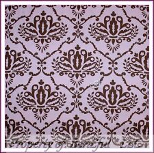 BonEful FABRIC FQ Cotton Quilt Baby Girl Pink Brown Flower Damask French Country