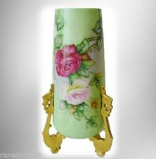 William Guerin Limoges tall vase  hp roses - gold feet: ca 1900  FREE SHIPPING