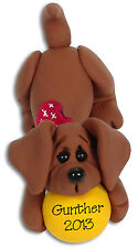 Dachshund DOG HANDMADE POLYMER CLAY Personalized CHRISTMAS Ornament  Deb & Co.