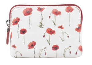 Golunski  Leather Coin Purse  Style 79031  Poppies  Colour White/red  New