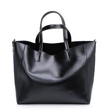 Women Genuine Leather Shoulder Bag Large Classic Bucket Tote Handbag Purse Black