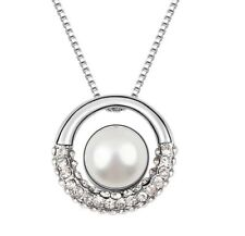18K White Gold Plated Made with Swarovski Elements White Circle Pearl Necklace