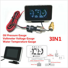 3In1 LCD Car Oil Pressure/Voltmeter Voltage/Water Temperature Gauge Meter 12/24V