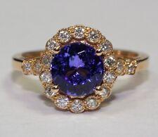 14k Rose Gold AAA+ Round Tanzanite and White Round Diamond Ring Size 6.5