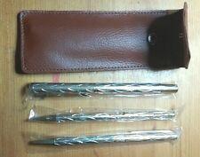 3 x Oro/Argento-Set di penne con motivo a colori con Marroni in Pelle Stile Portafoglio-Nuovo