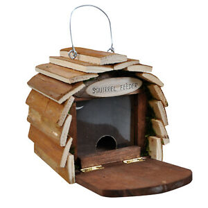 Natures Market Wooden Wood Squirrel Food Nut Feeder Feeding Station Hotel