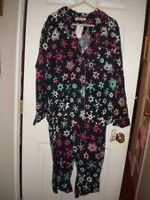 Dearfoams navy with pink, white, & aqua snowflake flannel pajama set NWT L