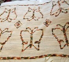 """Vintage Mid Century Mod Crocheted Butterfly Afghan Blanket Retro 54"""" x 41"""""""