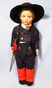 "Rare Vintage Lenci 15"" Boy Mountain Climber with Walking Stick Smoking Pipe"