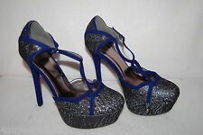 "Womens SILVER BLACK ROYAL BLUE Velvet PLATFORM STILETTOS 5.5"" High Heels SZ 7.5"