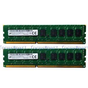 Micron 16GB 2X8GB DDR3 1600MHz PC3-12800E ECC Unbuffered Server Memory 2RX8 RAM