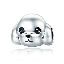 Poodle Bichon Frise Dog Charm Fine 925 Sterling Silver Bead Fit Bracelet Chain